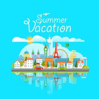 Dirrefent wereldberoemde bezienswaardigheden. zomervakantie reizen concept. moderne stadsgezicht vector reisillustratie