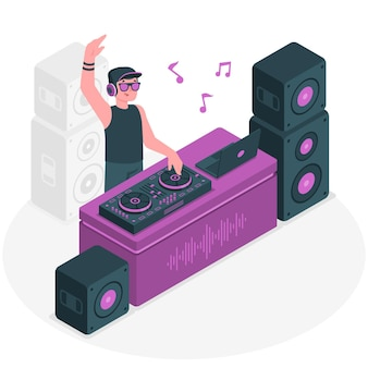 Disc jockey concept illustratie