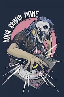 Disc jockey skull met koptelefoon