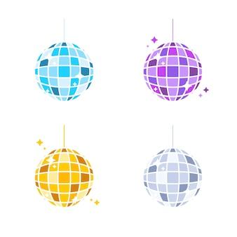 Disco bal vector. kleurrijke glazen bollen voor feestavondviering