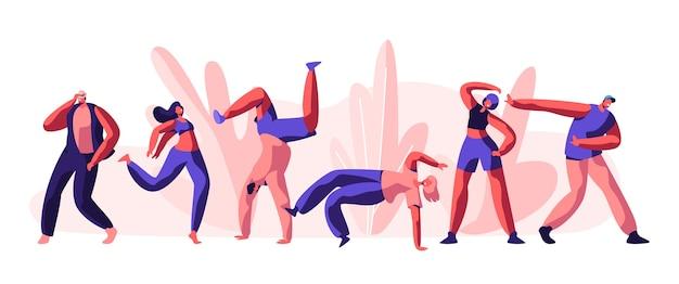 Disco guy freestyle dansfeest. jeugd mensen, jongen en meisje actieve beweging samen. activiteitsstijl voor coole dans en vorm op straatconcert. platte cartoon vectorillustratie