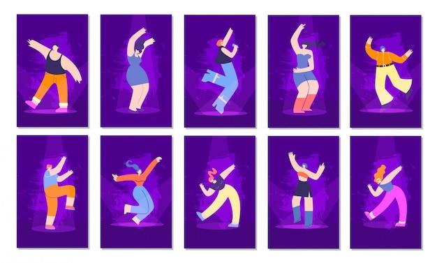 Disco mensen neon stijl platte uitnodigingskaarten instellen