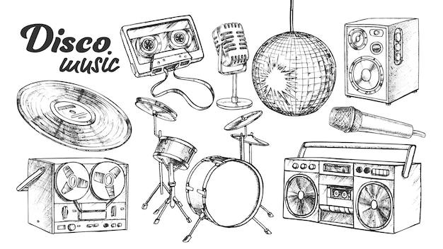 Disco muziekcollectie elementen inktset
