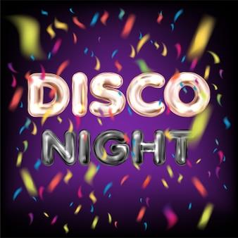 Disco nacht belettering met confetti