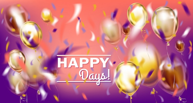 Disco partij violet afbeelding met matallic ballonnen en folie confetti