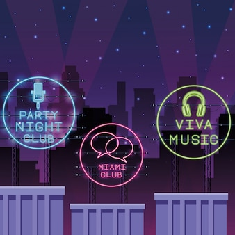 Disco party neonlichten