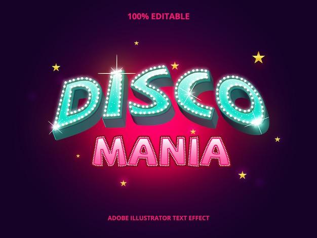 Disco tekst, bewerkbaar lettertype-effect