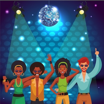Disco vrouwen zingen en dansen in het podium