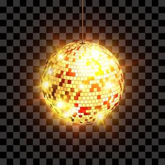 Discobal met lichtstralen geïsoleerd op transparante achtergrond
