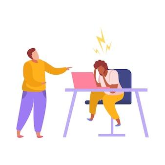 Discriminatie platte compositie met witte baas huilend op afro-amerikaanse werknemer