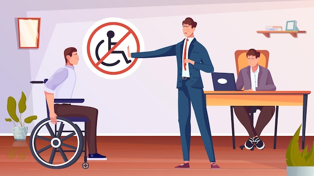 Discriminatie van gehandicapten met man op rolstoel vlakke afbeelding