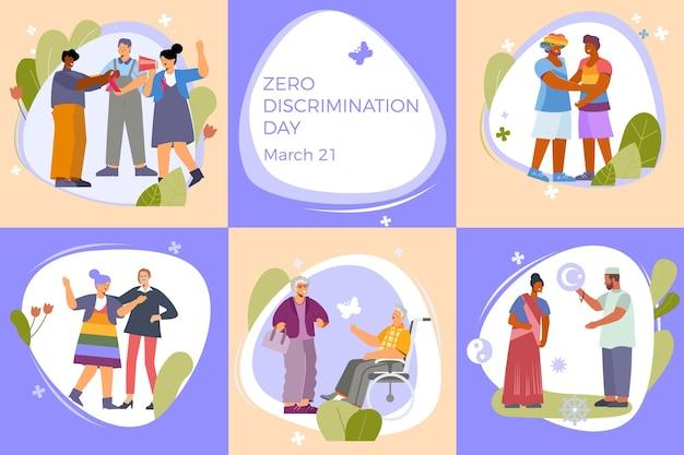 Discriminatieset van zes platte composities met doodle menselijke karakters tijdens persoonlijke interacties met bewerkbare tekstillustratie Premium Vector