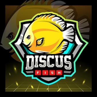 Discus vis mascotte esport logo ontwerp