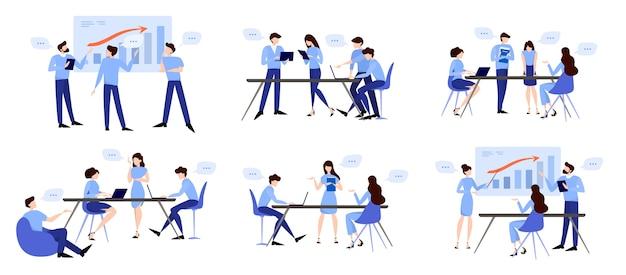 Discussie en brainstormen in teamconcept. groep bedrijfsmensen op het werk, bureauvergadering. professionele communicatie. illustratie