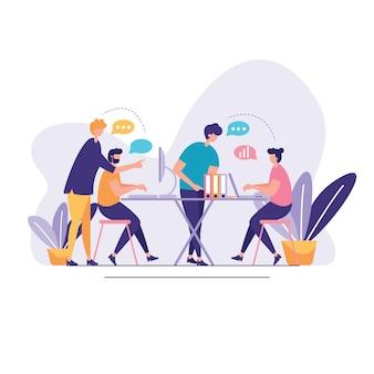 Discussie sociale netwerk illustratie