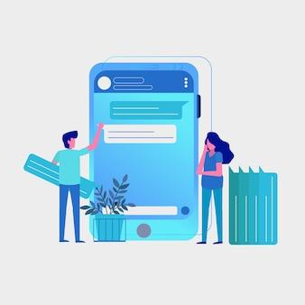 Discussiegroep chatten op mobiele telefoon-apps
