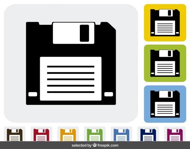 Diskette pictogrammen in verschillende kleuren