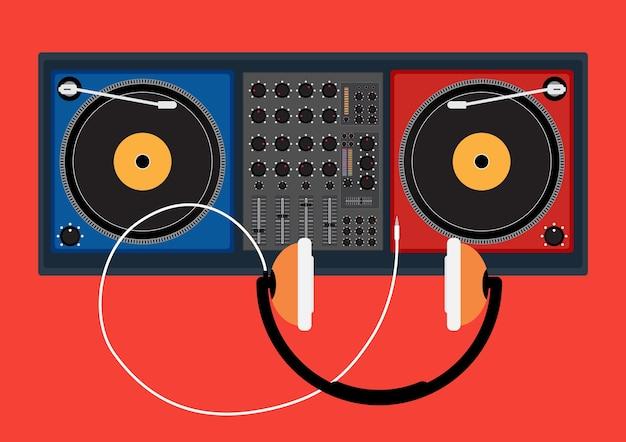 Diskjockey speler en koptelefoon voor dj-muziek