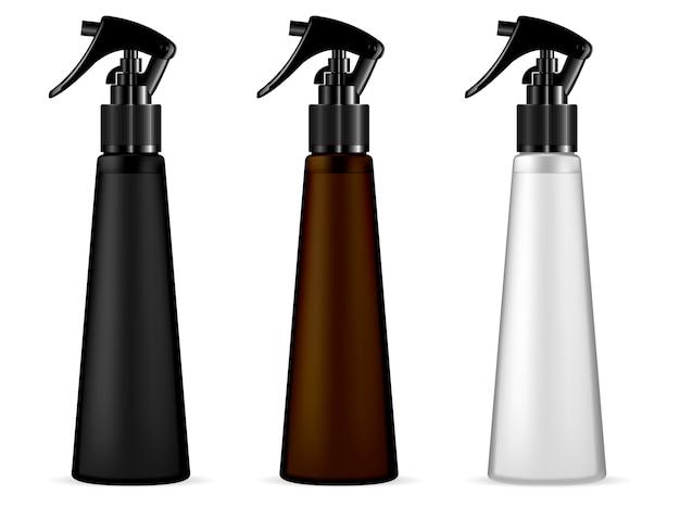 Dispenser spray cosmetische fles. realistische containersjabloon met pistoolkop voor verschillende huid- of haarverzorgingsproducten