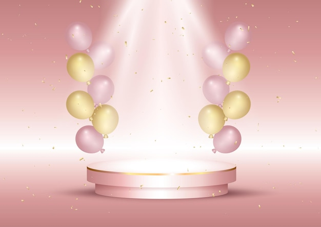 Display interieur met ballonnen en leeg podium in rosé gouden kleuren