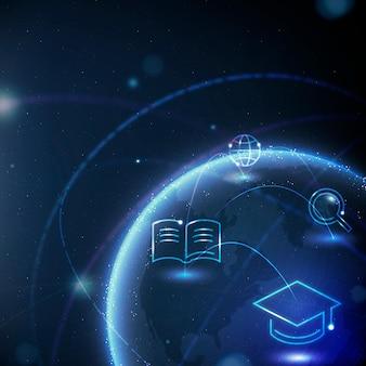 Disruptief onderwijs wereldbol achtergrond vector geografie digitale remix