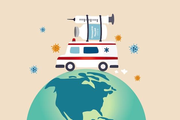 Distributie van vaccins wereldwijd na goedkeuring en klaar voor verzending over de hele wereld