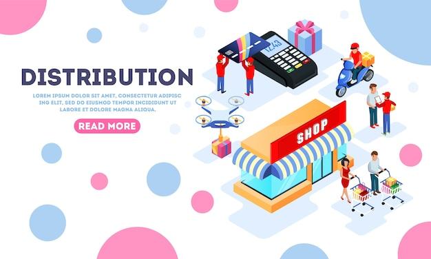 Distributie, verzending, levering, aankopen doen bestemmingspagina sjabloon met winkel.