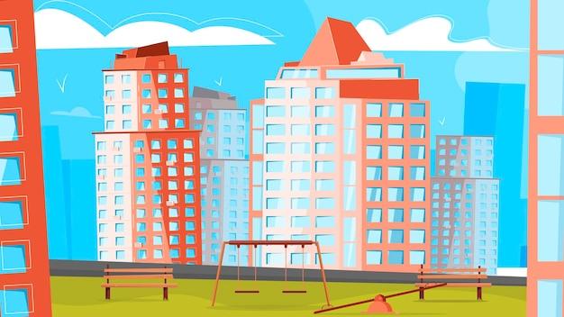 District van nieuwe gebouwen illustratie w