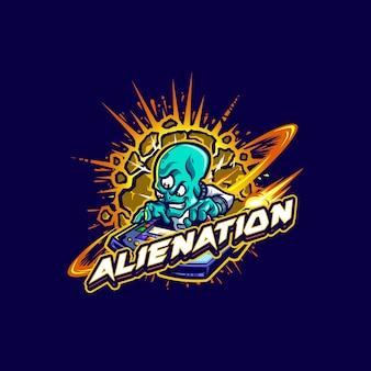 Dit de alien met het logo van de mascotte van het ruimtevaartuig. dit logo kan worden gebruikt voor sport, streamer, gaming en esport-logo.