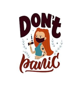 Dit is een motiverende quote geen paniek het cartoonmeisje is een meester-tatoeage is goed voor posters