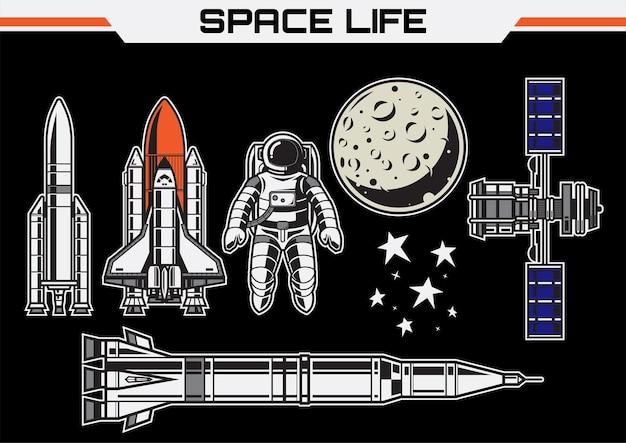 Dit is een vectorillustratie van het leven in de ruimte