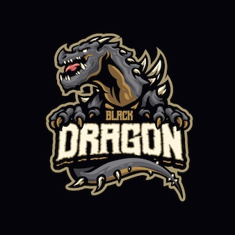 Dit is het logo van de black dragon mascot. dit logo kan worden gebruikt voor sport, streamer, gaming en esport-logo.