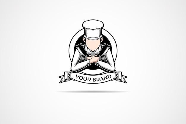 Dit is het logo van een chef die gespecialiseerd is in slagers