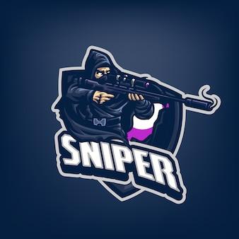 Dit is het logo van sniper mascot. dit logo kan worden gebruikt voor sport, streamer, gaming en esport-logo.