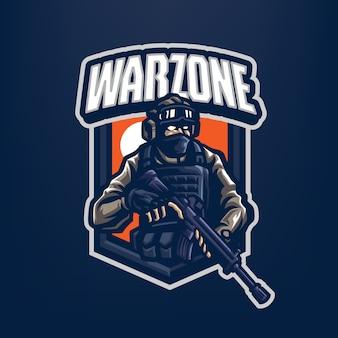 Dit is het soldier mascot-logo. dit logo kan worden gebruikt voor sport, streamer, gaming en esport-logo.