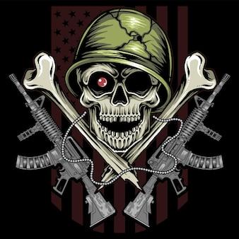 Dit schedelontwerp van veteranen van het amerikaanse leger is de strijd van veteranen op veteranen