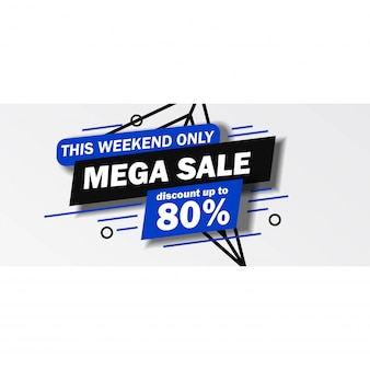 Dit weekend alleen mega sale-banner met blauwe en zwarte kleur