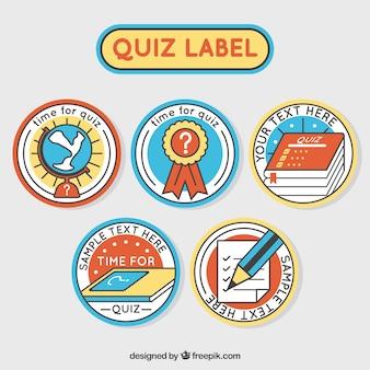 Dit zijn vijf kleurrijke quiz labels