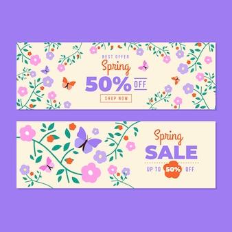 Ditsy bloemen lente platte ontwerp verkoop banners sjabloon