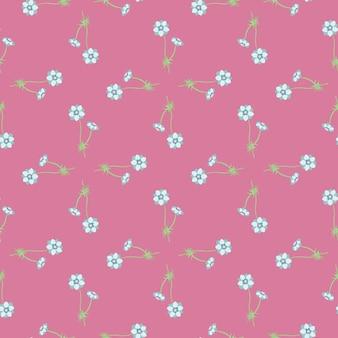 Ditsy naadloos patroon met het kleine blauwe ornament van anemoonbloemen. roze achtergrond. zomerse stijl. voorraad illustratie. vectorontwerp voor textiel, stof, cadeaupapier, behang. Premium Vector