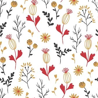 Ditsy naadloze bloemmotief. met kleine bloemen, bladeren en takken