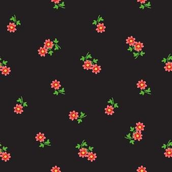 Ditsy naadloze patroon met kleine kleine rode bloemen verspreid over donker