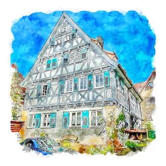 Ditzingen duitsland aquarel schets hand getekende illustratie