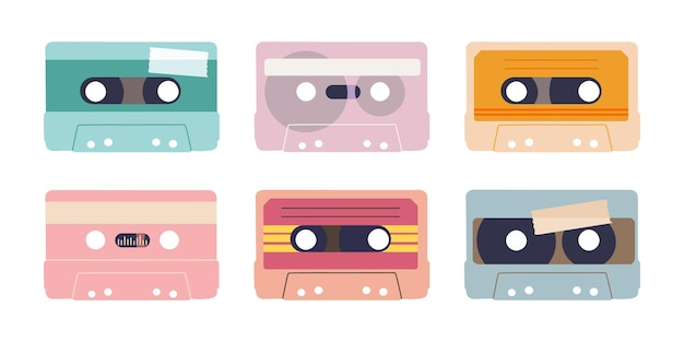 Diverse audiobanden geïsoleerde illustratie van audiocassettes verzameling elementen voor retro design
