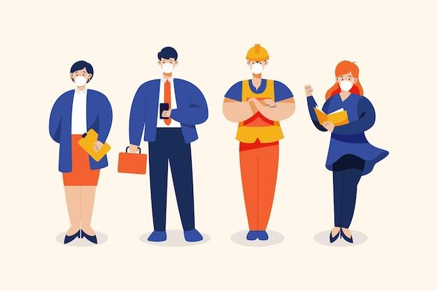 Diverse banen met mensen die medische maskers dragen