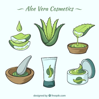 Diverse cosmetica gemaakt van aloë vera