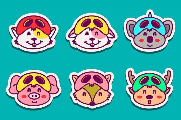 Diverse dieren karakter sticker ontwerpen illustratie