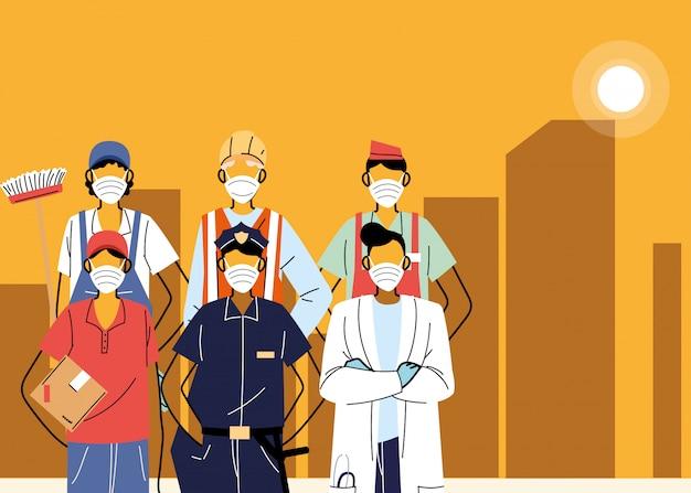 Diverse eerstelijnsarbeiders die beschermende maskers in de stad dragen