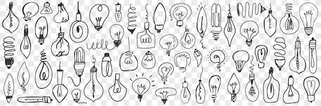 Diverse elektrische lampen doodle set. inzameling van hand getrokken hangende lampen van verschillende vormen voor geïsoleerde huiselektriciteit.