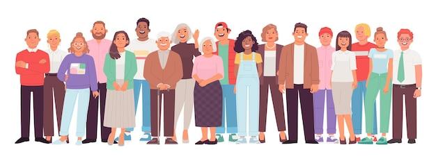 Diverse en multiculturele groep mensen tegen een witte achtergrond. een menigte van vrolijke karakters, jonge, volwassen en oudere mannen en vrouwen. vectorillustratie in vlakke stijl